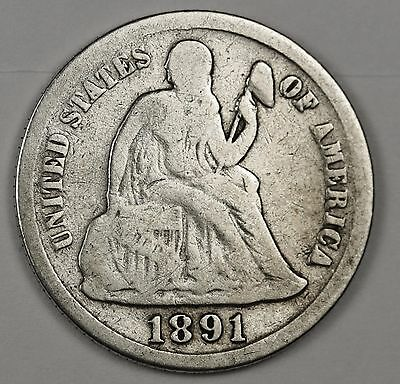 1891-s Liberty Seated Dime.  Good.  112150