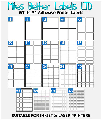 Address Labels White A4 Sheets Sticky Self Adhesive for Inkjet/Laser Printer WTP
