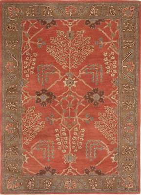 Arts & Crafts William Morris Style Hand Tufted Wool Rust Area Rug *FREE SHIPPING