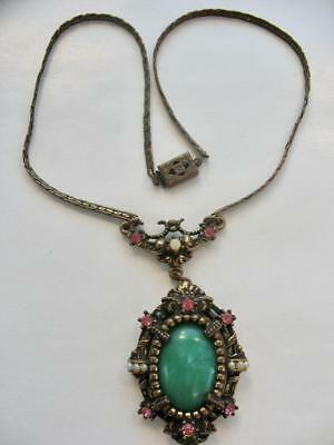 Antique Czech Victorian Glass Seed Pearl Gold Brass Pendant Necklace 1890S