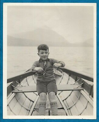 SUPERB C1920S B/W PHOTO WEE SCOTS LADDIE IN ROWING BOAT by DONALD McLEISH?