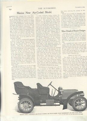 1905 Marion Air Cooled Automobile Magazine Article Indianapolis IN wz7093