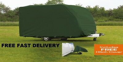 Quest Caravan Cover GREEN 6.9m-7.5m / 23ft-25ft Heavy Duty + Free Hitch Cover