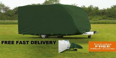 Breathable Caravan Cover GREEN 6.9m-7.5m/23ft-25ft Heavy Duty + Free Hitch Cover