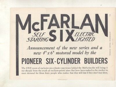 1913 McFarlan Six Automobile Double Page Magazine Ad Connersville IN wz7118