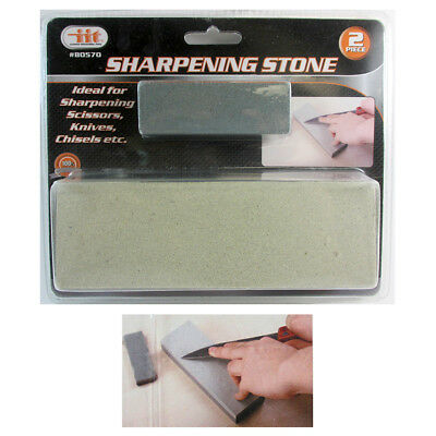 "2 Pc 6"" Aluminium Oxide Sharpening Stone Dual Grit Hone Knife Blade Sharpener"