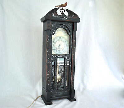 Vintage Sessions United Grandfather Mantel Clock Gothic Bird Hand-Painted Works