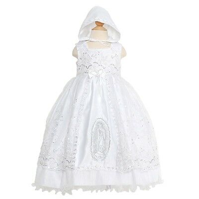 Rain Kids White Mary Silver Embroidered Baptism Dress Girls 6M-4T