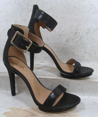7bec7bf4d04 Calvin Klein Womens Vivian Black Leather Sandals Heels Shoes size 7 M US