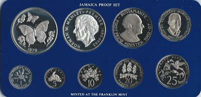 JAMAICA - 1979 9pc PROOF set - 1c-$10 Butterfly - in FM card  - Mtg.= 4049 sets