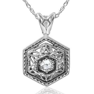 Solitaire Diamond Vintage Pendant .12Ct Antique 14K White Gold 17.65mm Tall