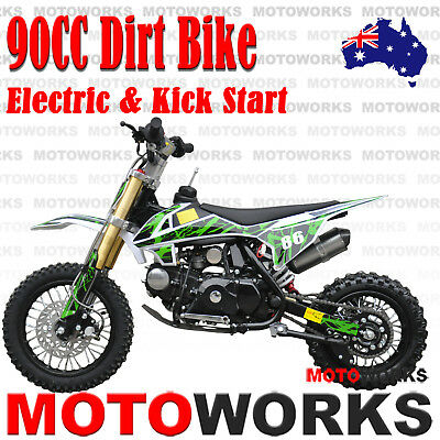 MOTOWORKS 90CC DIRT TRAIL PIT MOTOR 2 wheels Electric Start Semi Auto BIKE green