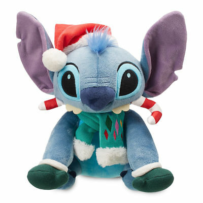 "Disney Store Stitch Holiday Plush 13"" H Seated Christmas 2018 Soft So Cool! Nwt"