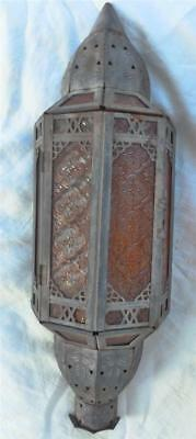 Vintage Wall Sconce Candle Lamp Embossed RED GLASS Panel Tin GOTHIC Arts CHURCH