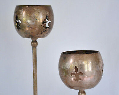 Vintage Set Two Silver Candlesticks Tall Antique Ornate
