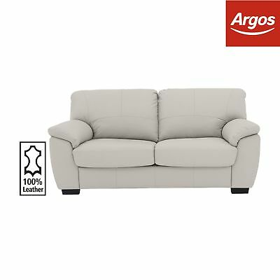 Argos Home Milano 2 Seater Leather Sofa Bed - Light Grey.