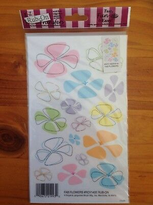 New -  Rub On Transfers By Royal & Langnickel - Fab Flowers  - Scrapbooking
