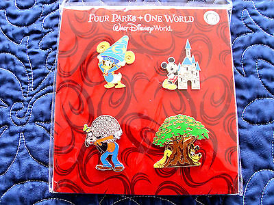 Disney * WDW 4 PARKS CHARACTERS & ICONS * Retired 4 pin BOOSTER Set MIP