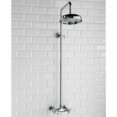 Buxton Traditional Cross Handle Dual Exposed Mixer Shower with Fixed Shower Head