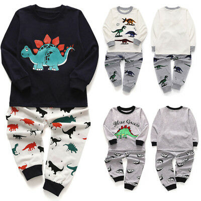 2PC Toddler Kids Baby Boy Girl Pajamas Cartoon Dinosaur Tops+Pant Outfit Set UK
