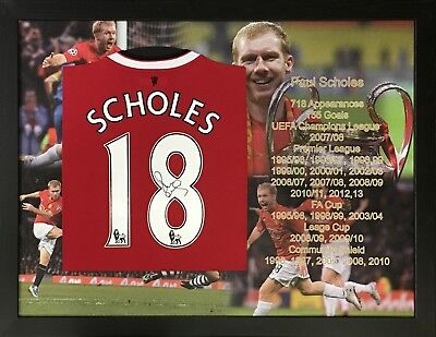 Framed Paul Scholes Signed Manchester United 18 Football Shirt See Proof & Coa