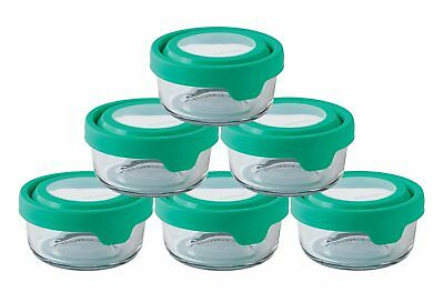 Anchor Hocking TrueSeal Glass Food Storage Container with Lid, Mint Green,6 Pack