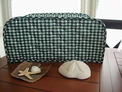 Hunter Green Gingham Large Toaster Oven Appliance Cover Cotton Blend quilted fab