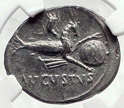 AUGUSTUS 17BC Spain Authentic Ancient Silver Roman Coin CAPRICORN NGC i72344