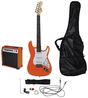 Johnny Brook Standard Guitar Kit with 20W Colour Coded Combo Amplifier, Orange