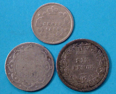 3 Piece Lot Canada Queen Victoria 1881 1870 1874 Sterling Silver Canadian Coin