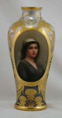 "Royal Vienna Porcelain 9"" Vase 'ruth' By Wagner Exquisite Polychrome/gilt Motif"