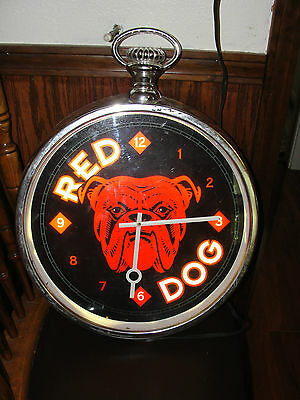 RED DOG pocket watch looking lighted sign, advertising, clock, 1996, beer