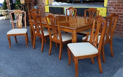1990s Drexel Heritage Yorkshire Collection Yew Wood Dining Table w/ 8 Chairs