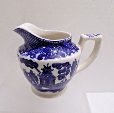 Antique Blue Willow Creamer Made in Japan Y S Company 4.0 inches tall