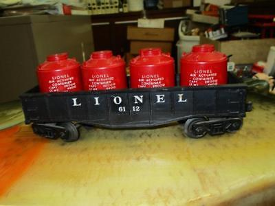 Vintage Lionel Lines O27 Scale Gondola Car 6112 With 4 Canisters