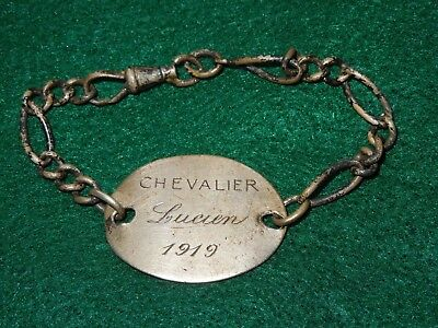 French Chevalier WWI Military Soldier Dog Tag Identification ID Bracelet 1919