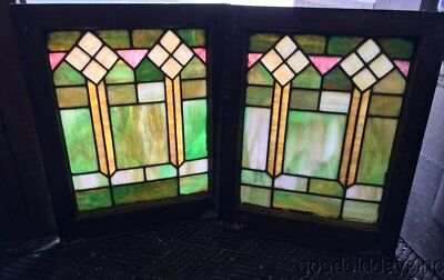 "Nice Pair of Colorful Stained Leaded Glass Windows 25"" by 20"" Circa 1925"