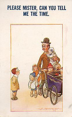 Dad with Whole Bunch of Kids A/S D. Tempest Comic Vintage Postcard