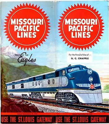 Missouri Pacific Railroad System passenger time table, September 21, 1947 92 pan