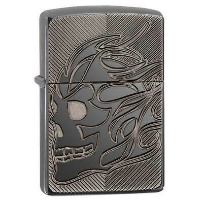 Zippo 29230 Armor Skull High Polish Black Ice Windproof Lighter