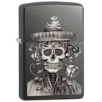 Zippo AD406 Day of the Dead Grey Dusk Windproof Pocket Lighter