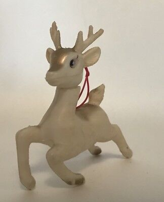Vtg White Christmas Reindeer Deer Soft Plastic Poseable Head Ornament Hong Kong