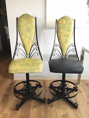 MID CENTURY Black WROUGHT IRON SCROLL High Back SWIVEL Chairs FUNKY K@@L Retro