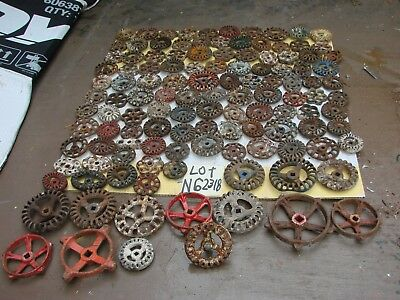 Lot 120 Vintage Metal IRON Faucet Knobs valve handles STEAMPUNK Industrial art