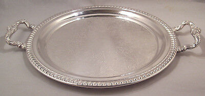 "Sheridan Silver Plate On Copper Round Serving Tray 12-3/4"" & 16-1/2"" w/Handles"