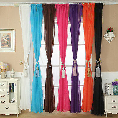 Solid Color Tulle Door Window Curtain Drape Panel Sheer Scarf Valance Reliable