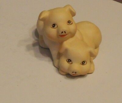 "Ceramic Piglets  Knick Knack- Great Detail- About 4 "" Long X 2 1/4"" High"
