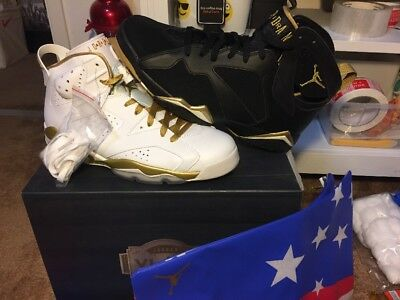 outlet store aa6d4 38631 New Air Jordan Golden Moment Pack White Black Gold Size 10.5 (535357-935)