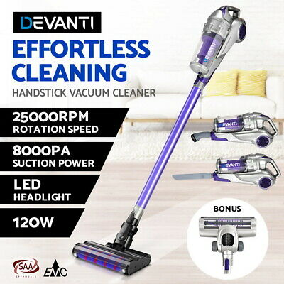 Devanti 120W Stick Vacuum Cleaner Cordless Handheld Handstick Recharge LED Light