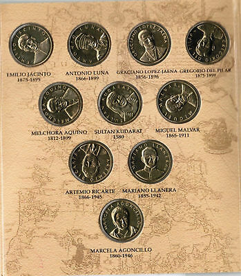 PHILIPPINES BSP 10 pcs Heroes Commemorative  Coin collectiom/Set UNC